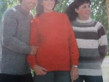 "Knitting Pattern Womens Mens Round Neck Jumper 32-44"" Aran/chunky Weight Vintage"