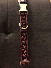 New Petco Adjustable Nylon Pink Black Skulls Dog Collar Large