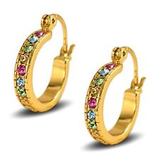 18ct Gold Filled Womens Creole Hoop Earrings 20mm with Multi Colour Crystals