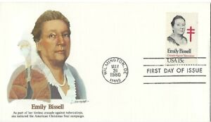 3 '80 FDCs Honoring Emily Bissell Crusader Against Tuberculosis SC#1823