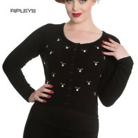 Hell Bunny Black Fluffy 50s Cardigan Top DECEMBER Holly Christmas All Sizes