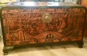 """Antique Chinese Hand Carved Very Large Camphor Lined Hope Chest/Coffee Table 41"""""""