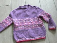 2327 - Pull 3 ans tricoté main mauve jacquard