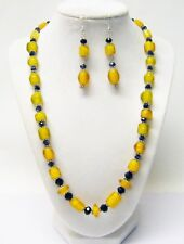 Yellow Foil Lined Mixed Shape & Sizes Glass Bead Necklace/Earrings Set