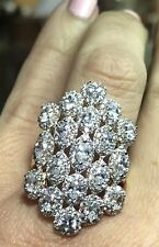 GOLD 14k ring Wide Multi semanario yellow Simulated Diamond stack 7 ask 5 6 8 9