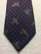 SMITHSONIAN INSTITUTE MENS TIE NAVY BLUE WITH BURGUNDY AND BIRDS 3.25 X 59