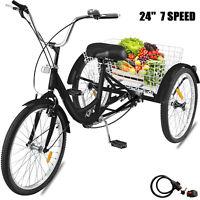 Adult Tricycle 24'' 7-Speed 3 Wheel Black Trike Tricycle  Bicycle Cruise