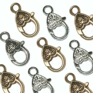 LARGE HEART LOBSTER CLASPS SILVER ANTIQUE BRONZE GOLD COPPER  26mm x 13mm SC12