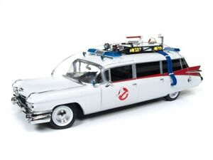 1:18 GHOSTBUSTERS ECTO 1 Cadillac diecast model & figure AUTO WORLD AWSS118 1959