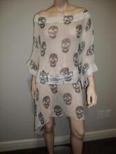 Philipp PLEIN 100% SILK White Skull Sheer Dress or coverup M