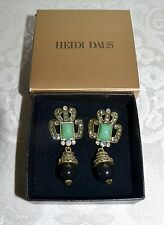 NIB $100 HEIDI DAUS Deco Brilliance Crystal Accented Drop Earrings Omega Pierced