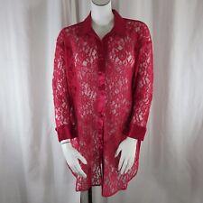 Vtg VS Victorias Secret Scarlet Red Satin Sheer Floral Lace Sleep Shirt L