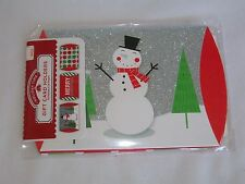 Set 3 Gift Card Holders Snowman Merry Christmas Red Green Dots Money