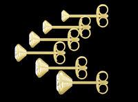ECHT GOLD ** Herren Zirkonia Single-Ohrstecker, 2-3-4-5-6 mm Ø