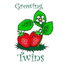 GROWING TWINS MATERNITY BABY IRON ON T SHIRT TRANSFER
