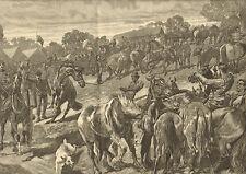 Barnet Horse Fair, England, by John Charlton, Vintage, 1887 Antique Art Print,