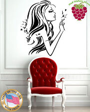 Wall Stickers Vinyl Decal  Beautiful Woman Profile with Flower Long Hair EM418