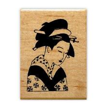 Japanese GEISHA mounted rubber stamp, oriental #12