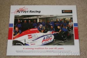 2009 A.J. Foyt Racing Gladiator Honda Dallara Indy 500 Indy Car Hero Card