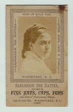 xRARE Advertising Real Photo Trade Card Hatter - Hats Caps Woonsocket RI  1870s