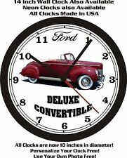 1940 FORD DELUXE CONVERTIBLE WALL CLOCK-FREE USA SHIP