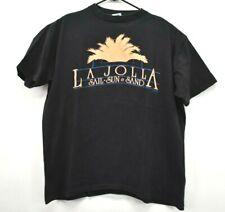 Vintage LA Jolla Men's XL Single Stitch Neon Sail Sun Sand T-Shirt Black/Orange