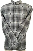 Modern Amusement Plaid Pocket Shirt Men Size L Large Gray Long Sleeve Button Up