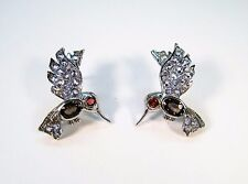 COLOR-CHANGE SAPPHIRE, PADPARADSCHA, TANZANITE BIRD EARRINGS 14k GOLD/925 SILVER