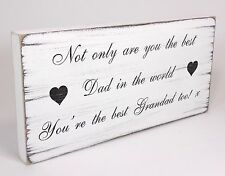Shabby & Chic Plaque best Dad Father Grandad birthday gift Sign Vintage Wood
