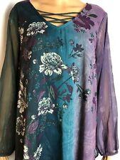 Women's Avenue Plus Size 18/20 Floral Bling Top Blouse -v