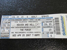 Heaven and Hell 2007 L.A. Forum ticket Black Sabbath Ronnie James Dio untorn