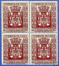 CHILE, 400 YEARS CITY OF ANGOL, COAT OF ARMS, BLOCK OF FOUR, 1954, MNH