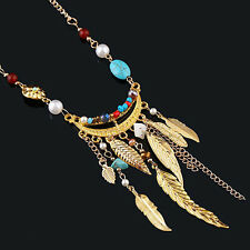 EG_ Women's Long Leaves Tassel Pearl Turquoise Beads Sweater Chain Necklace Nove