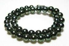 10-11mm AAA natural tahitian black green pearl necklace 18inch