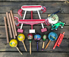 Vintage Lot 16 Percussion Musical Instruments Maracas Cymbal Bells Wood Knocker
