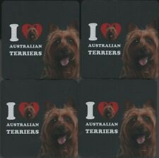 I Love Australian Terriers 4-Pack Rubber Coaster Set New Dogs