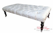 Large Chesterfield Deep Buttoned Footstool/Coffee Table In Crushed Silver Velvet