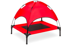 Outdoor Raised pet dog cat rest bed w/ Removable Canopy Tent, Large, Red 36