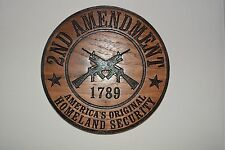 2nd Amendment Homeland Security Walnut Wood Plaque American Made Home Made