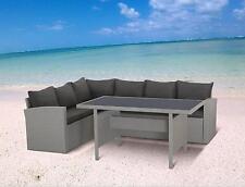 Polyrattan Lounge Set Milos Sitzgruppe Gartenmöbel Garnitur grau Gruppe hoch Eck
