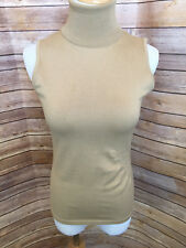 Per Se Tan Knit Sleeveless Turtlneck Blouse Shell Cinched Waist Size Extra Small