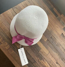 NWT Janie And Jack Girls White Bucket Straw Hat With Bow Size  12/24 Months