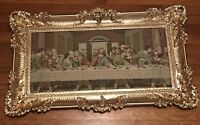 Last Supper Tapestry Vintage Gold Ornate Elegant Frame Picture Religious Decor