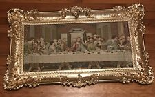The Last Supper Tapestry Rare Vintage Large Gold Ornate Frame Picture Decor