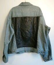 Men's Harley Davidson Denim & Leather Embossed Biker Jacket Size XL Rare Retro