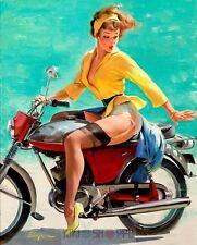 Poster 37x29 cm Vintage Pin Up Girls Retro Moto Motorcycle Erotic Prints 04