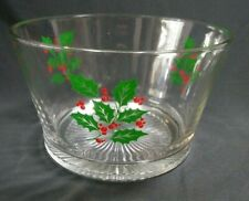 Candy Bowl Glass Holly & Berries Christmas Dish Ice Bucket Vintage 7""