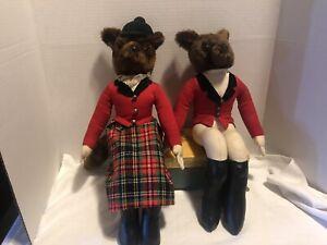 "Vint. Mr & Mrs Fox English Hunting Plush Stuffed Animal Equestrian Shelf Sit-18"""