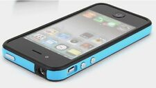 2-Tone Bumper Case with Chrome Buttons for iPhone 4 / 4S - Blue/Black