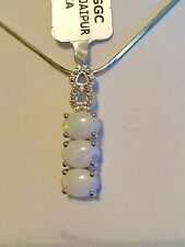 Coober Pedy Opal & White Topaz Sterling Silver Pendant TGW 2.27 cts